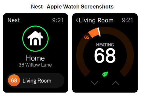 Nest App Apple Watch Screenshots