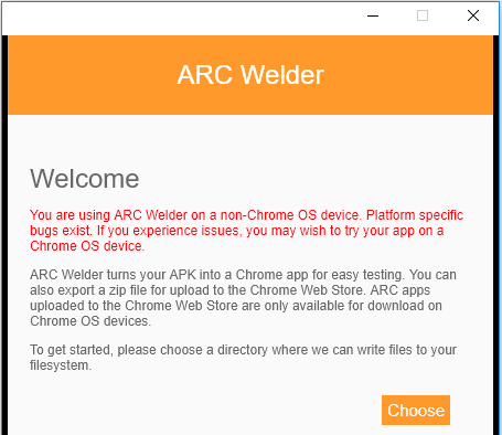 Welcome to ARC Welder App. ARC Welder turns your Jio TV APK into a Chrome app. To get started, please choose a directory where ARC Welder can write files to your file system.