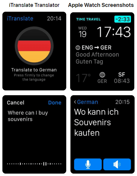 iTranslate Translator App - Apple Watch Screenshots