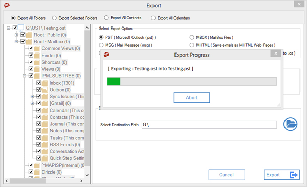Steps to Convert OST to PST File Using MailsDaddy OST to PST Converter Software. Step 5 - Click on Export option to complete export OST to data in PST