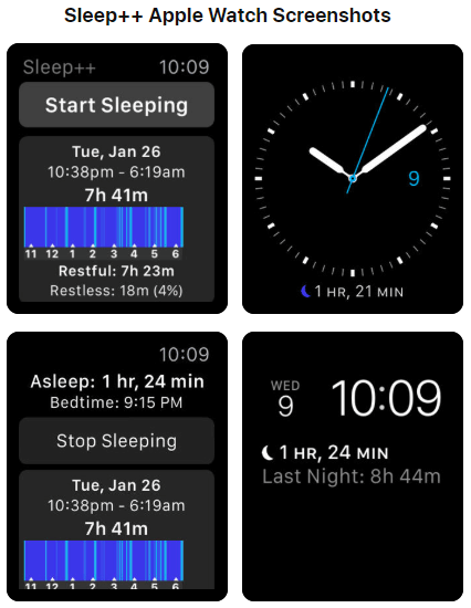 Sleep++ App Apple Watch Screenshots