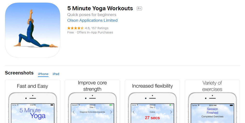 5 Minute Yoga Workouts App - Quick poses for beginners