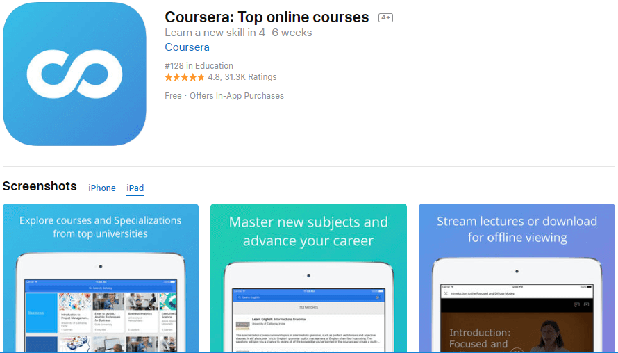 Coursera top online courses app