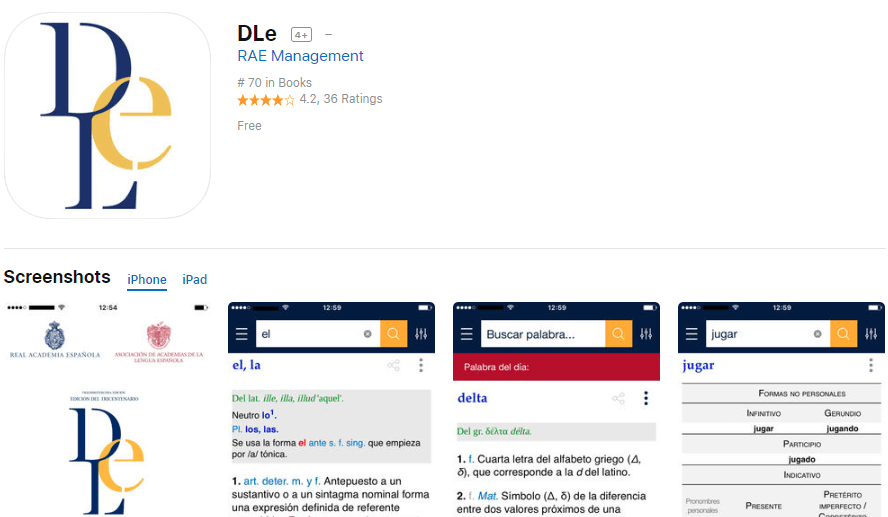 DLe Dictionary of the Spanish language App