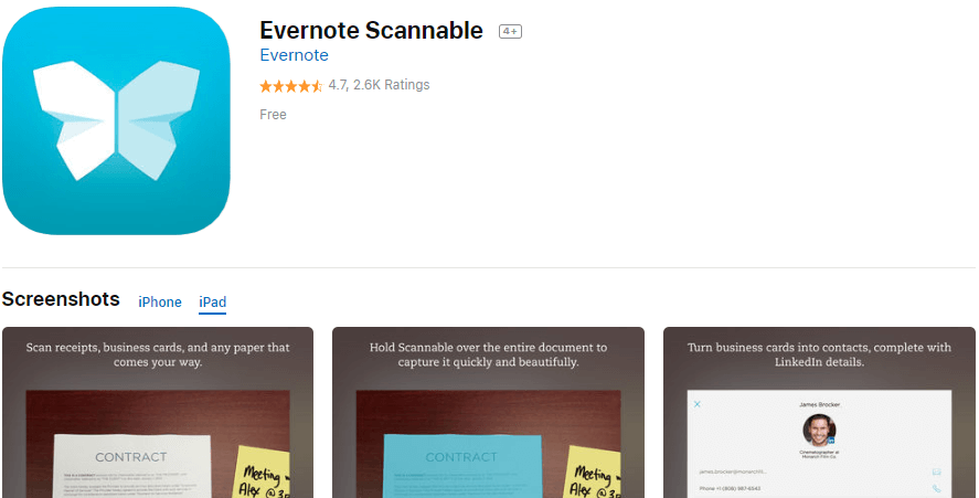 Evernote Scannable App - Scan receipts, business cards, and any paper that comes your way.