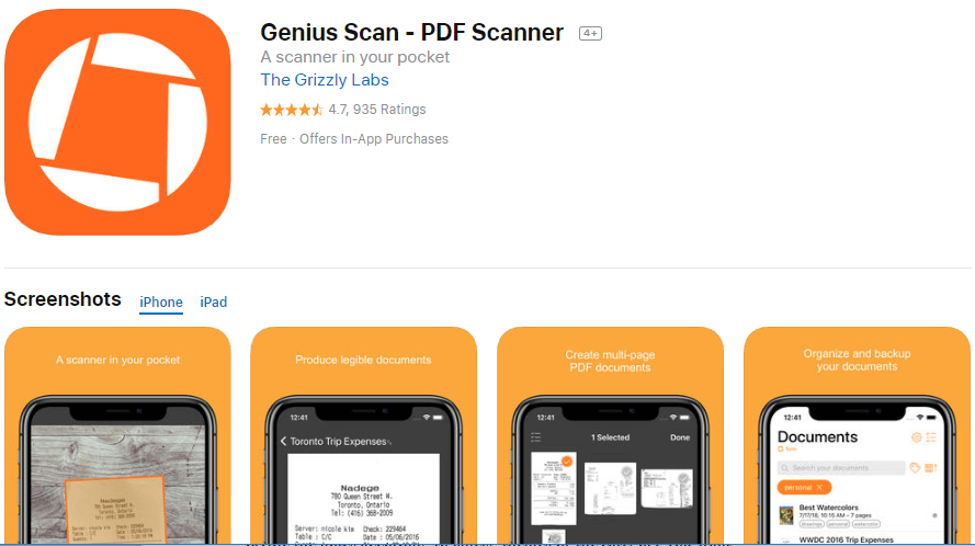 Genius Scan - PDF Scanner App