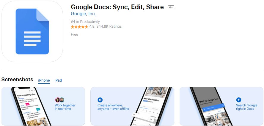 Google Docs App - Sync, Edit, Share. Create, edit, and collaborate on the go with the Google Docs app.