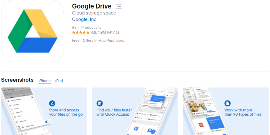 Google Drive Cloud Storage Space App