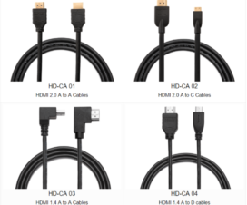 HDMI Cable, HDMI Cables: HDMI 2.0 A to A Cables, HDMI 2.0 A to C Cables, HDMI 1.4 A to A Cables, HDMI 1.4 A to D Cables