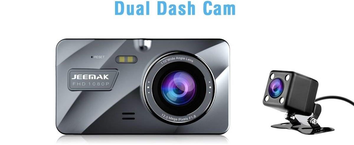 JEEMAK Dual Lens DashFHD 1080P Dashboard Camera