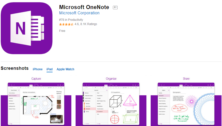 Microsoft OneNote App - Excellent tool to take notes.