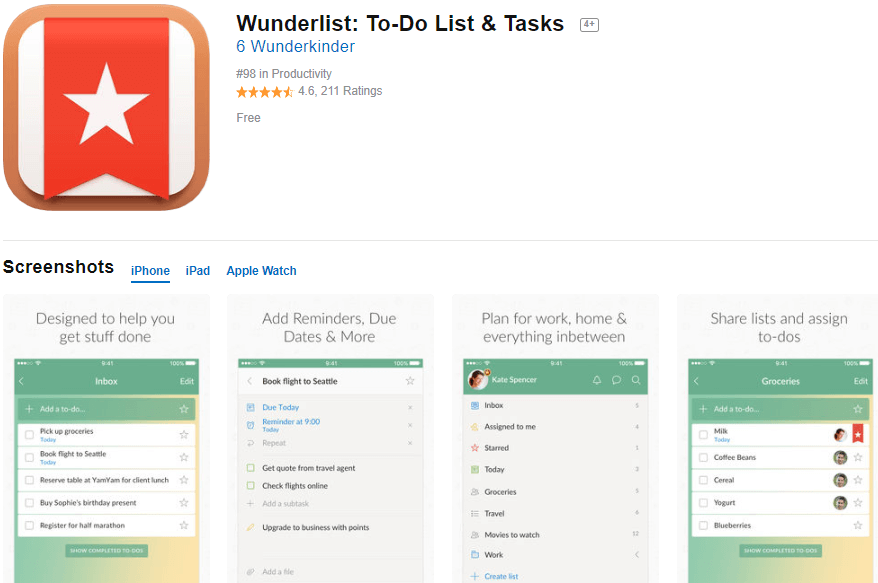Wunderlist to-do list and task manager productivity app