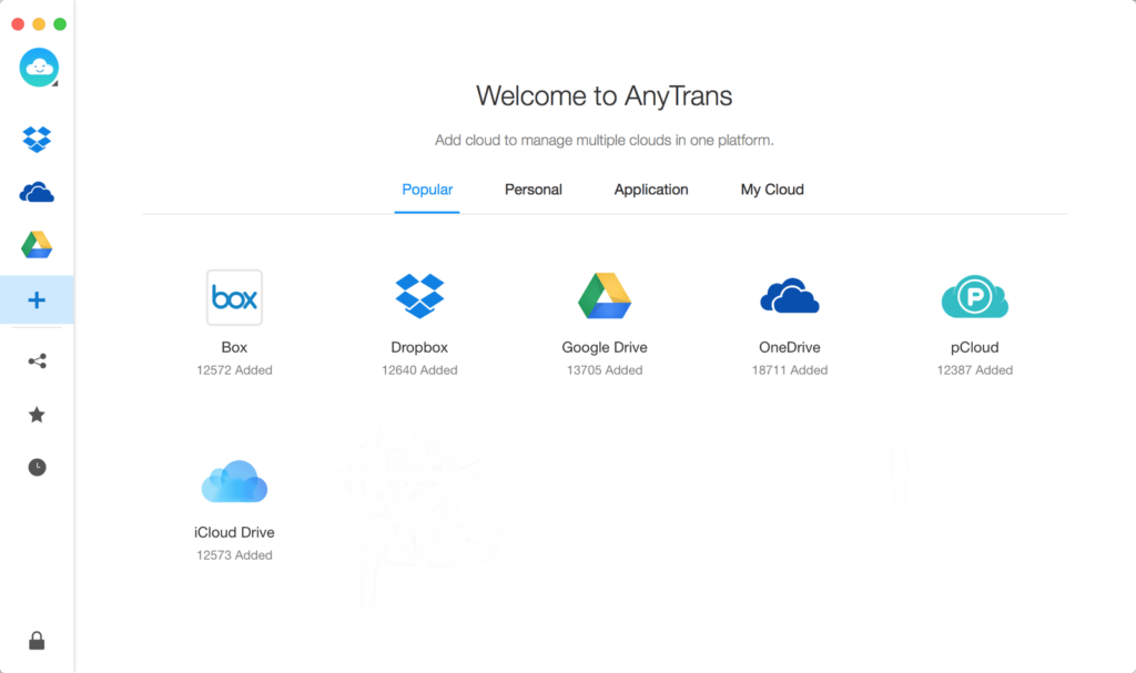 AnyTrans for Cloud: Add cloud to manage multiple clouds in one platform