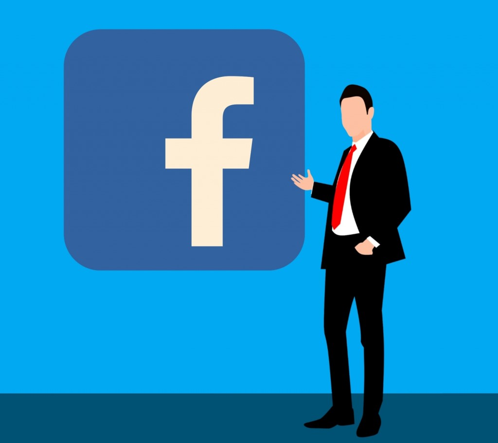 Facebook icon - social media - Facebook logo - Facebook ads - professional handsome executive people showing male smile