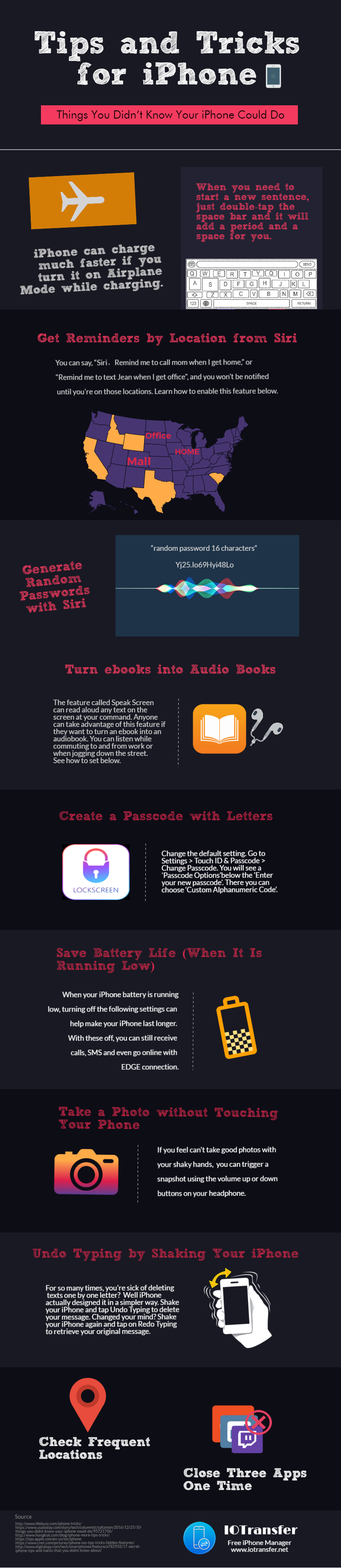 iPhone tips and tricks infographic