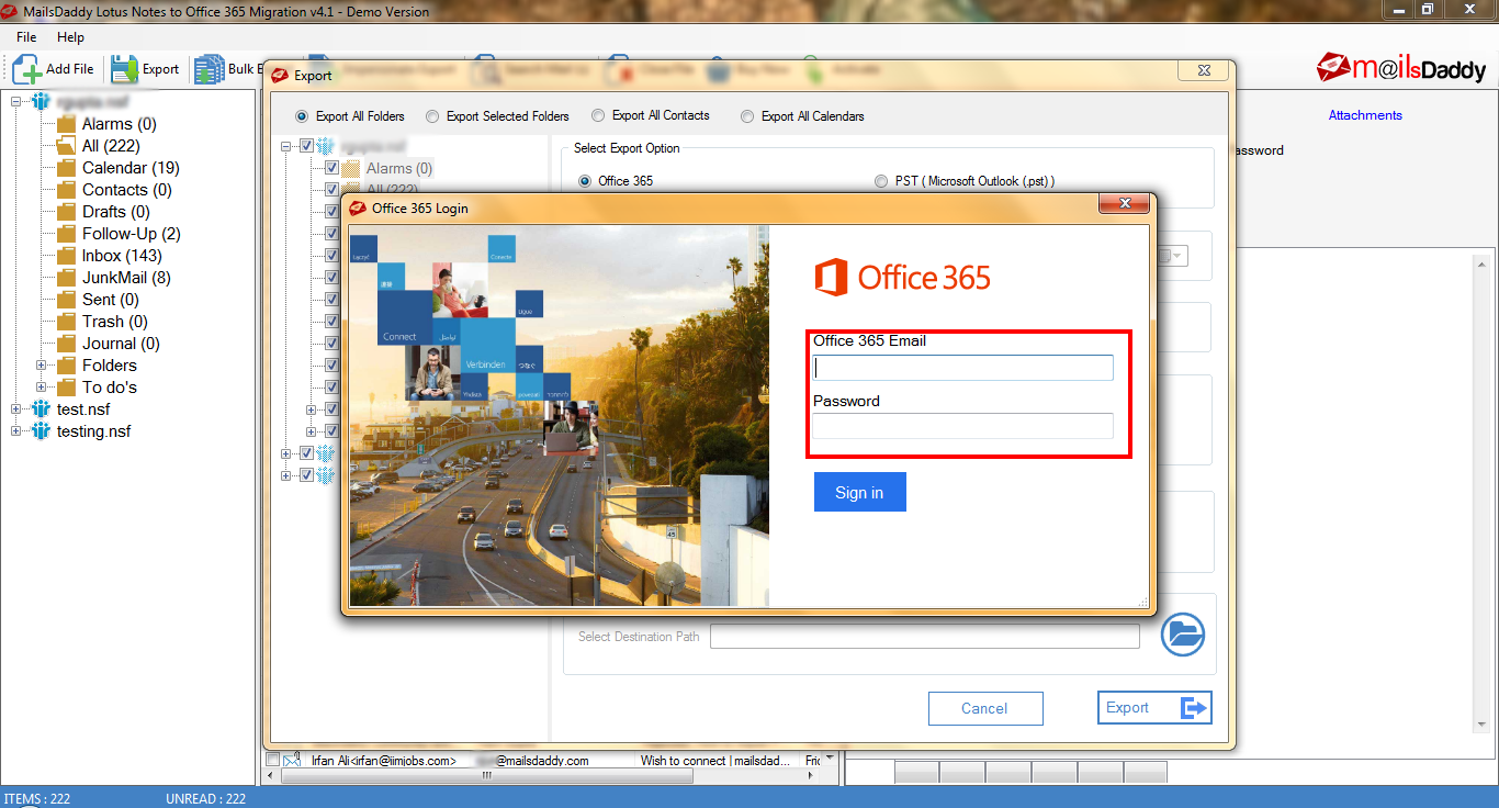 MailsDaddy Lotus Notes to Office 365 Migration Software Tool > Login to Office 365 to perform the migration task