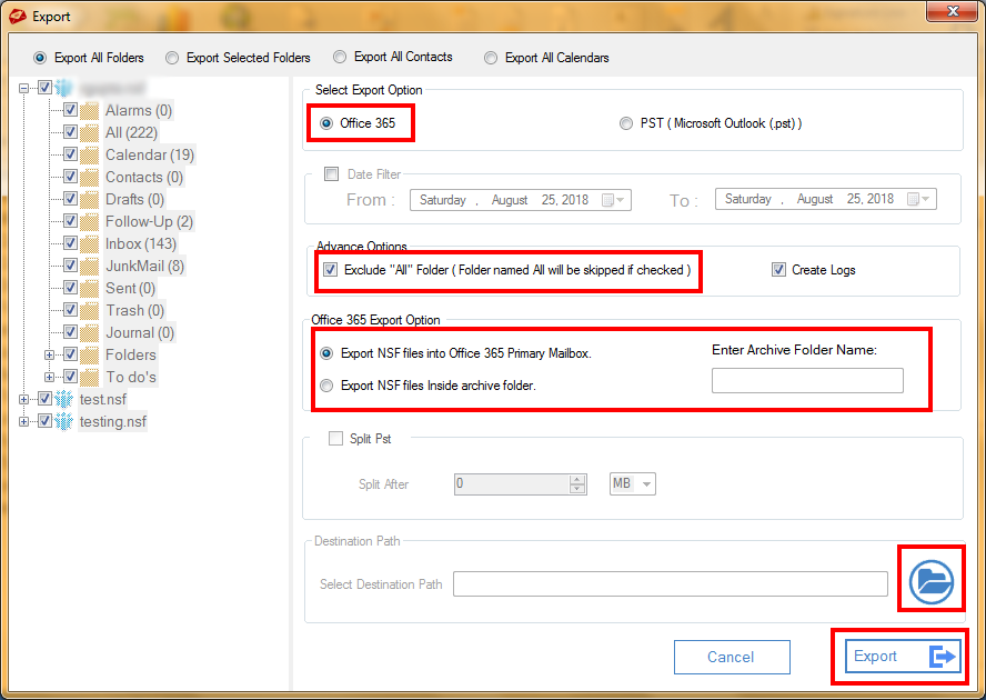 MailsDaddy Lotus Notes to Office 365 Migration > Select Export Option