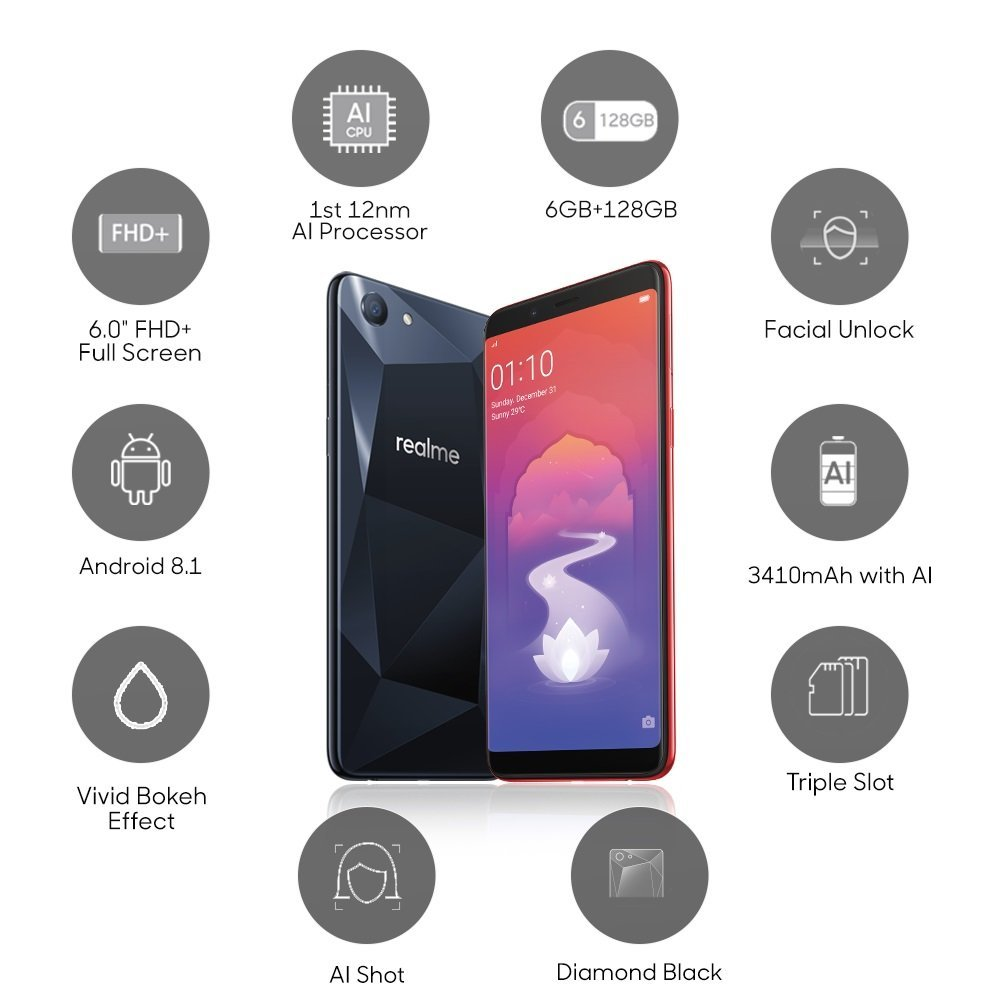 RealMe 1 (Diamond Black, 6GB RAM, 128GB Storage)