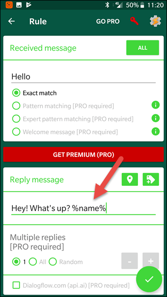 Automatically respond to custom received WhatsApp messages with AutoResponder for WhatsApp Android App. You have a lot of settings to customize each auto reply for your needs.