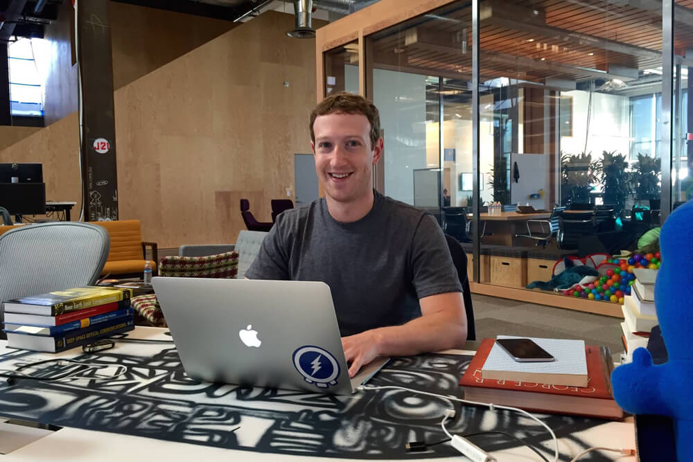 Zuckerberg at work.