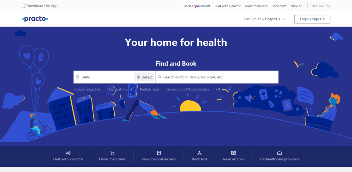 Practo Healthcare Website: Your home for health screenshot