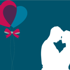 TvojeLaska.cz - Dating for people with disabilities. Image contain: man and woman, lovers, kissing, love, balloons