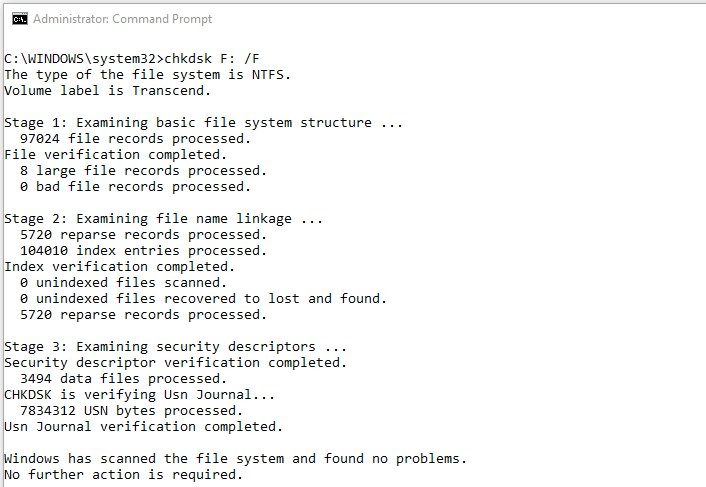 chkdsk command syntax to fix errors on the disk