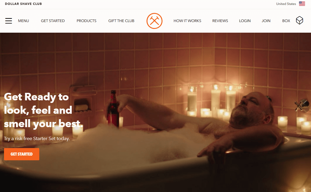 Successful E-commerce Website Dollar Shave Club: Get Ready to look, feel and smell your best.