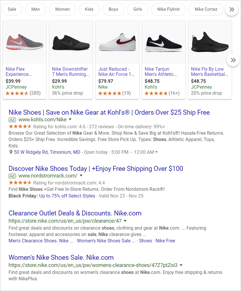 Nike Shoes in Google Search
