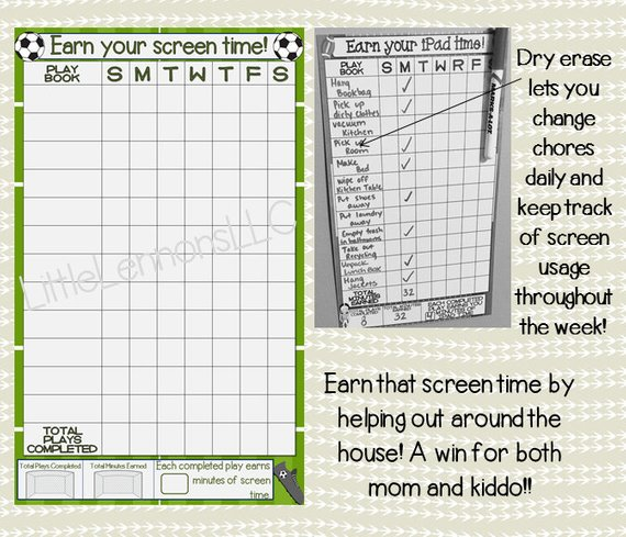 Earn your iPad time! Dry erase lets you change chores daily and keep track of screen usage throughout the week! Earn your screen time! Earn that screen time by helping out around the house! A win for both mom and kiddo!!