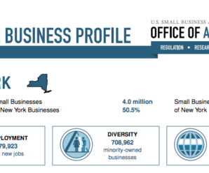 Small Business Profile: U.S. Small Business Administration Office of Advocacy. 2.1 million Small Businesses. 99.8% of New York Businesses. 4 million Small Business Employees. 50.5% of New York Employees. Employment 79,923 net new jobs - Diversity 708,962 minority-owned businesses - Trade 94.1% of New York exporters.