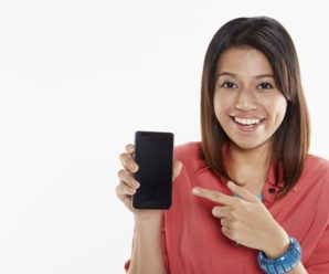 Woman holding up Smartphone. Buy a Smartphone on EMI Without a Credit Card