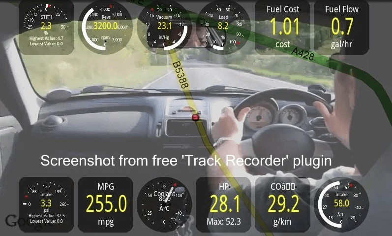 Torque Pro Best OBD2 App Car Track Recorder Screenshot. Video your car journey using the Track Recorder plugin with onscreen OBD2 data overlay