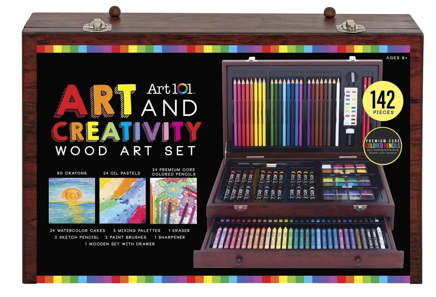Useful educational gift for Christmas Art 101 Art and Creativity Wood Art Set. 60 Crayons, 24 Oil Pastels, 24 Premium Core Colored Pencils, 24 Watercolor Cakes, 3 Mixed Palettes, 1 Eraser, 2 Sketch Pencils, 2 Paint Brushes, 1 Sharpener, 1 Wooden Set With Drawer. 142 Pieces Wood Art Set. Premium Core Colored Pencils. Easy Shading and Blending Smooth Color Laydown.