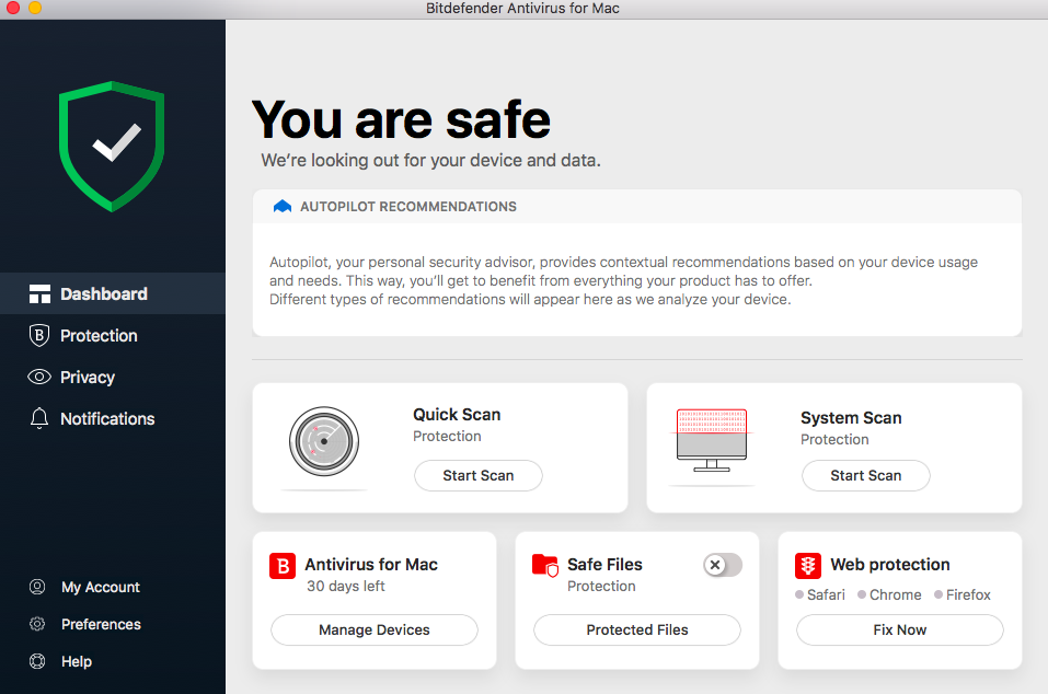 Bitdefender Antivirus for Mac Dashboard image