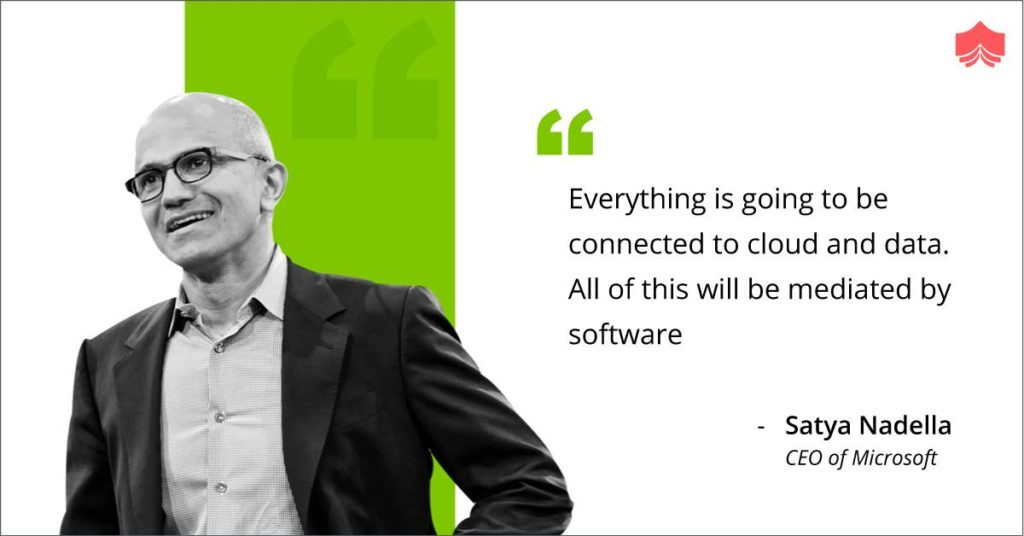 Everything is going to be connected to cloud and data. All of this will be mediated by software. Cloud computing offers your business many benefits. It allows you to set up what is essentially a virtual office to give you the flexibility of connecting to your business anywhere, any time. - Satya Nadella CEO of Microsoft. #Cloud #Computing #Data #AWS #GCloud