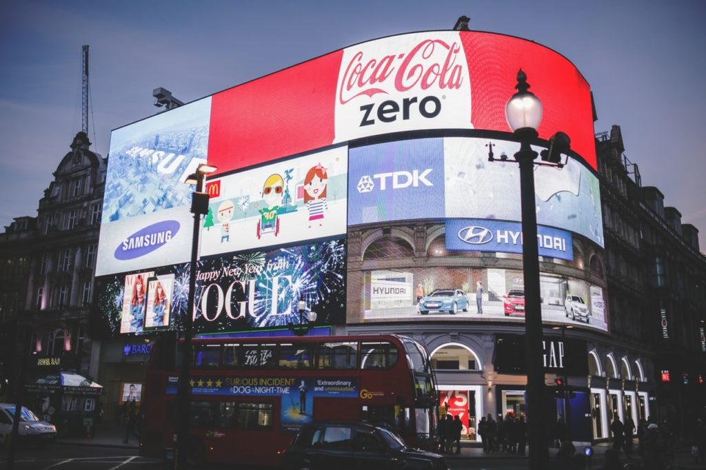 Outdoor Digital Signage or Digital Advertising Photo. Red Coca Cola Zero Signage