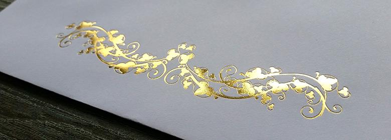 Design Print Materials for Foil Stamping Effects image 1: Gold Foil Stamping.