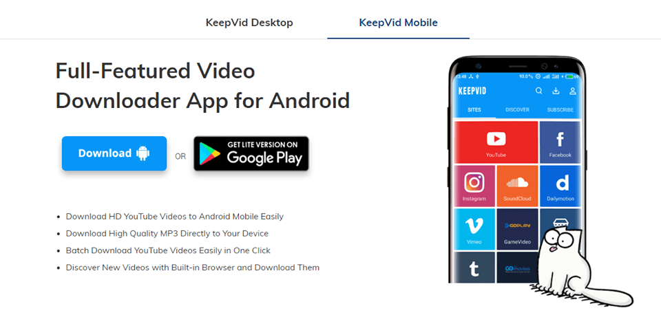 KeepVid Video Downloader App for Android - Download YouTube Videos to Android Mobile Easily