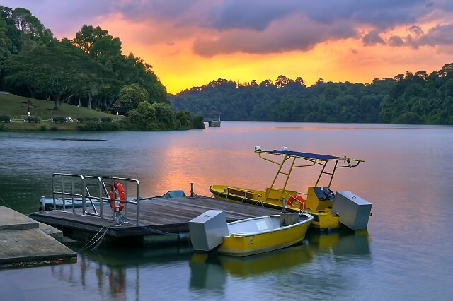 Boats at MacRitchie Reservoir, Singapore, at sunset