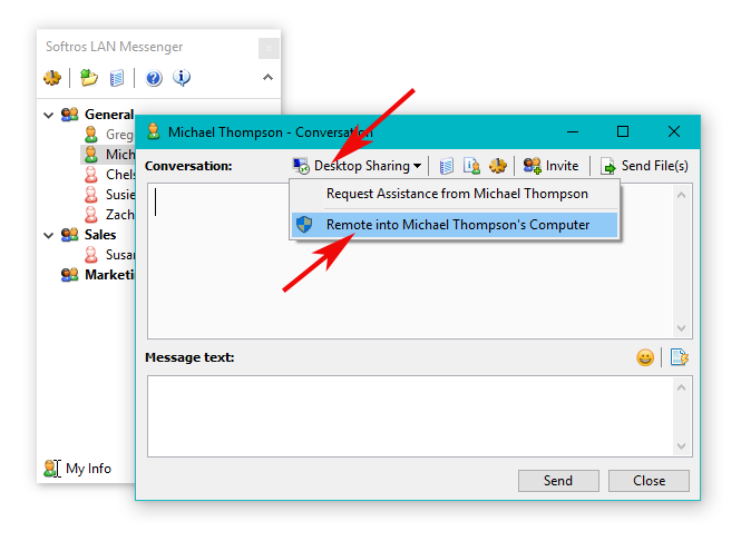 Remote Desktop Sharing - Softros LAN Messenger