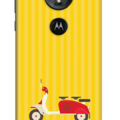 DailyObjects 3 To Go Scooter Yellow Striped Case Cover For Motorola Moto E5 Smartphone.
