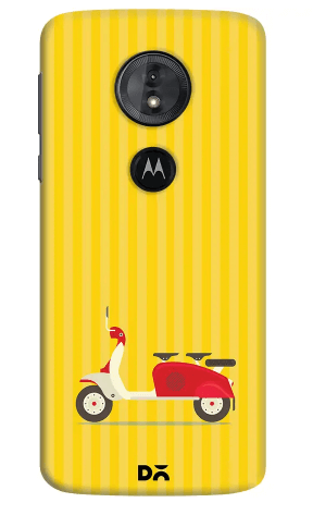 3 To Go Scooter Yellow Striped Case Cover For Motorola Moto E5 Smartphone.