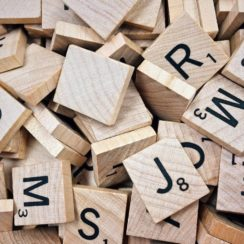 Brown Scrabble Boards With Letters photo