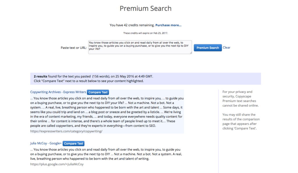 Copyscape Plagiarism Checker Search Results. Duplicate Content Detection.