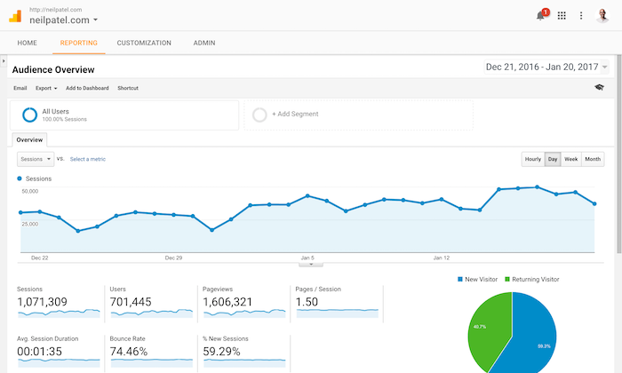 Google Analytics Audience Overview Report Screenshot.