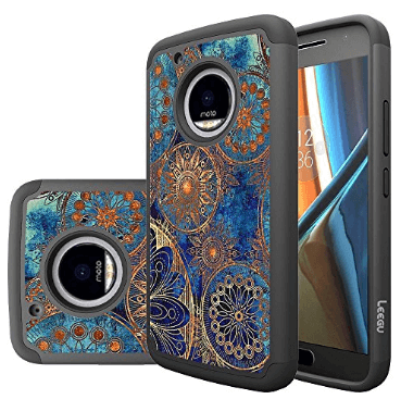 LEEGU Dual Layer Gear Wheel Case for Motorola Moto E5