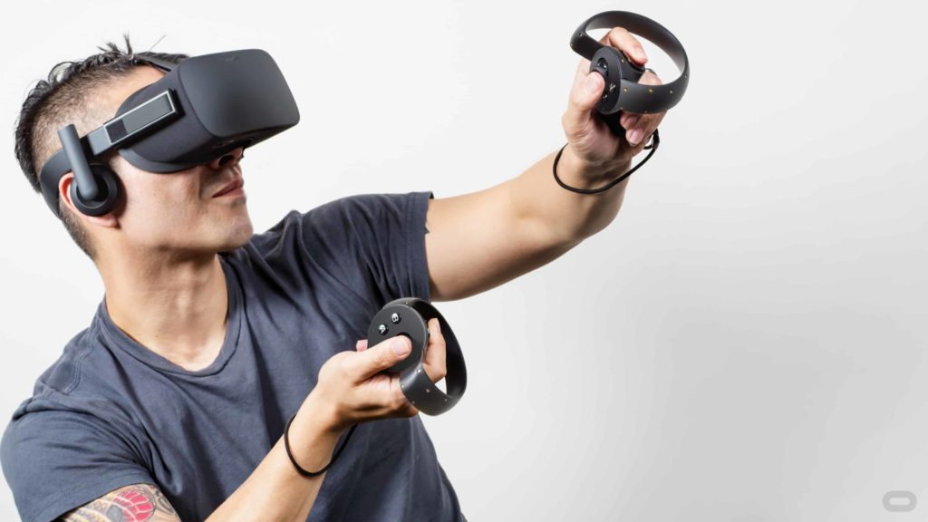 Oculus Rift VR Headset and Oculus Rift's Touch Controller (Two Hand Held Controllers) for VR Ready PCs.