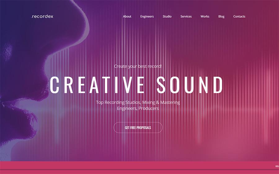 Recordex - Recording Studio Music Online Moto CMS 3 Template.
