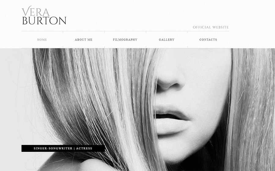 Vera Burton Actress Website Builder | Responsive Moto CMS 3 Template.